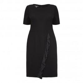 GEORGEDÉ DRESS with diagonal polka dot ruffle