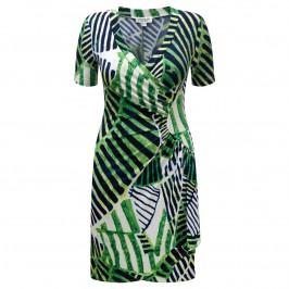 GEORGEDÉ abstract navy & emerald print wrap DRESS