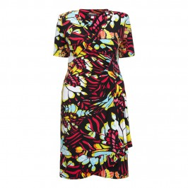 GEORGEDÉ abstract butterfly print wrap DRESS - Plus Size Collection