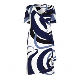 GEORGEDÉ blue swirl print wrap DRESS - Plus Size Collection