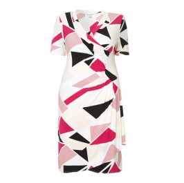 GEORGEDÉ abstract crimson print wrap DRESS - Plus Size Collection