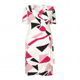 GEORGEDÉ abstract crimson print wrap DRESS - Plus Size Collection