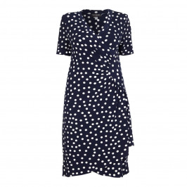 GEORGEDÉ navy polka dot wrap DRESS - Plus Size Collection