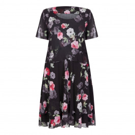 GEORGEDÉ black rose print chiffon DRESS - Plus Size Collection