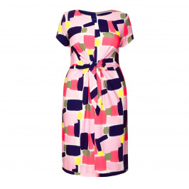 GEORGEDÉ TIE FRONT DRESS PRINT PINK - Plus Size Collection