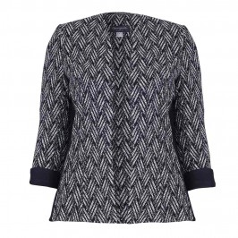 GEORGEDE BASKET WEAVE JACQUARD JACKET WITH BLACK SIDE PANELS - Plus Size Collection