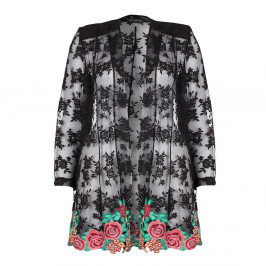 GEORGEDE BLACK LACE jacket  WITH FLORAL EMBROIDERED APPLIQUES - Plus Size Collection
