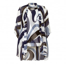 GEORGEDE abstract blue print georgette Jacket & Vest - Plus Size Collection