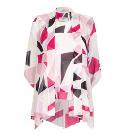 GEORGEDE abstract crimson print georgette Jacket & Vest - Plus Size Collection
