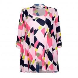 GEORGEDÉ CHIFFON TWINSET PRINT PINK - Plus Size Collection