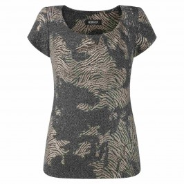 GEORGEDé GOLD AND BLACK JACQUARD TOP - Plus Size Collection