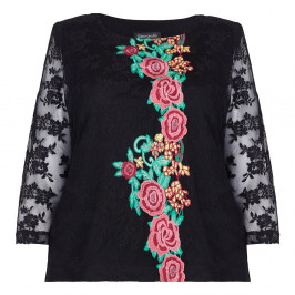 GEORGEDE BLACK LACE TOP WITH FLORAL EMBROIDERED APPLIQUES - Plus Size Collection