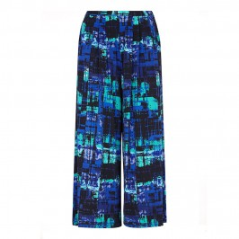 GEORGEDE BLUE TONES PRINT WIDE LEG TROUSERS - Plus Size Collection