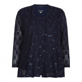 Georgedé NAVY LACE AND SEQUIN TWINSET - Plus Size Collection