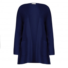 KARIN NAVY STRUCTURED LONG-SLEEVED CARDIGAN  - Plus Size Collection