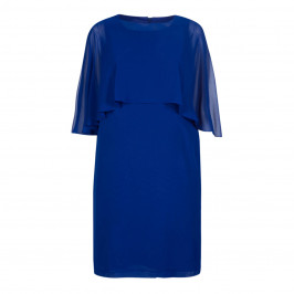BEIGE LABEL GEORGETTE DRESS WITH CAPE COBALT  - Plus Size Collection