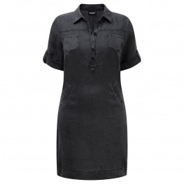 BEIGE linen black shirt DRESS - Plus Size Collection