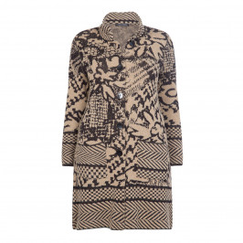 FABER LONG KNITTED INTARSIA JACKET - Plus Size Collection