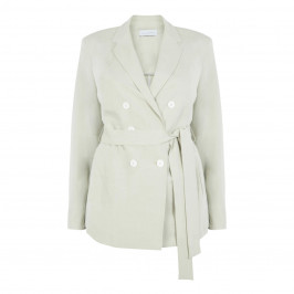 SALLIE SAHNE LINEN BLEND DOUBLE BREASTED JACKET - Plus Size Collection