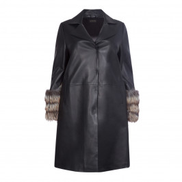 YOEK LEATHER COAT WITH FUR CUFFS