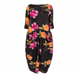 MASHIAH SATIN PLISSE FLORAL PRINT DRESS - Plus Size Collection