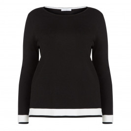 LUISA VIOLA BLACK SWEATER WITH WHITE TIPPING - Plus Size Collection
