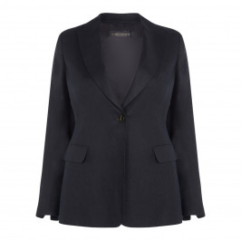 MARINA RINALDI NAVY LINED LINEN BLAZER - Plus Size Collection