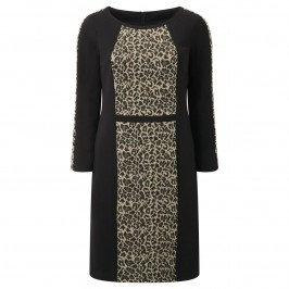 Habella LEOPARD JACQUARD PANELLED DRESS - Plus Size Collection