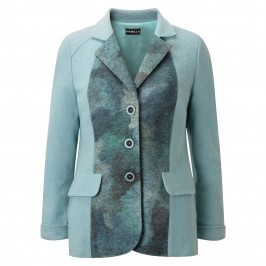 HABELLA BLUE BOILED WOOL EFFECT PANELLED JACKET - Plus Size Collection