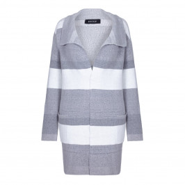BEIGE LABEL PRINT GREY LARGE STRIPE LONG CARDIGAN  - Plus Size Collection