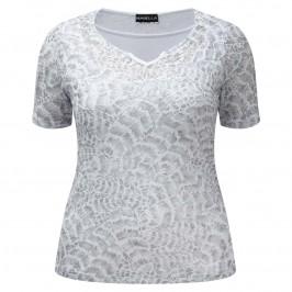 HABELLA grey snakesin print semi-sheer T SHIRT top - Plus Size Collection