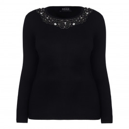 BEIGE LABEL BLACK EMBELLISHED NECK SWEATER  - Plus Size Collection