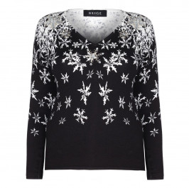 BEIGE LABEL MONOCHROME SNOWFLAKES PRINT SWEATER  - Plus Size Collection
