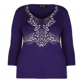 BEIGE LABEL navy EMBELLISHED embroidered SWEATER - Plus Size Collection