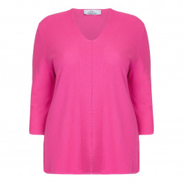 KARIN RIBBED PINK V-NECK SWEATER  - Plus Size Collection