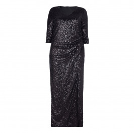 BEIGE LABEL BLACK SEQUINED GOWN WITH THREE QUARTER SLEEVES - Plus Size Collection