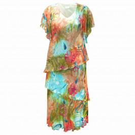 KIRSTEN KROG devore silk mix tiered DRESS - Plus Size Collection