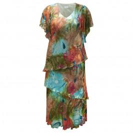 KIRSTEN KROG devore silk mix tiered DRESS