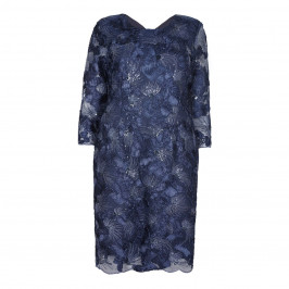 BEIGE LABEL NAVY SEQUINED DRESS WITH LACE TEXTURED FABRIC - Plus Size Collection