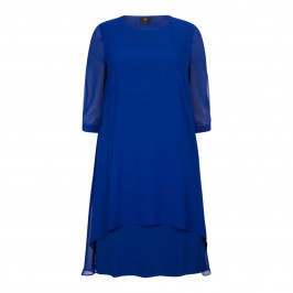 KIRSTEN KROG GEORGETTE LAYER DRESS COBALT - Plus Size Collection