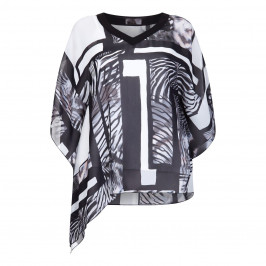 KIRSTEN KROG monochrome chiffon KAFTAN - Plus Size Collection