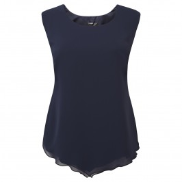 KIRSTEN KROG navy chiffon sleeveless top - Plus Size Collection