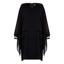 KIRSTEN KROG CAPE DRESS DIAMANTE CUFF BLACK