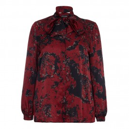 KRIZIA RED PRINT SILK SATIN BOW NECK BLOUSE - Plus Size Collection