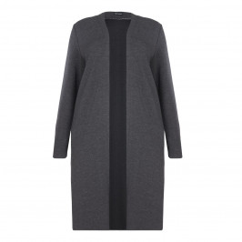 KRIZIA GREY LIGHT WEIGHT COAT WITH SPLIT SIDES - Plus Size Collection