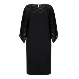 KRIZIA black DRESS with devore shoulders - Plus Size Collection