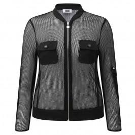 KRIZIA black mesh zip-up JACKET - Plus Size Collection