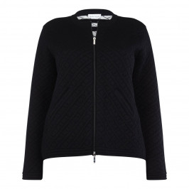 KRIZIA BLACK KNIT QUILTED EFFECT JACKET - Plus Size Collection