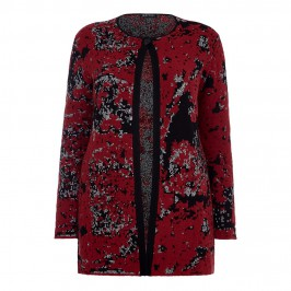 KRIZIA RED ABSTRACT INTARSIA LONG CARDIGAN - Plus Size Collection