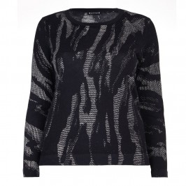 KRIZIA ABSTRACT PATTERN SWEATER IN BLACK TONES  - Plus Size Collection